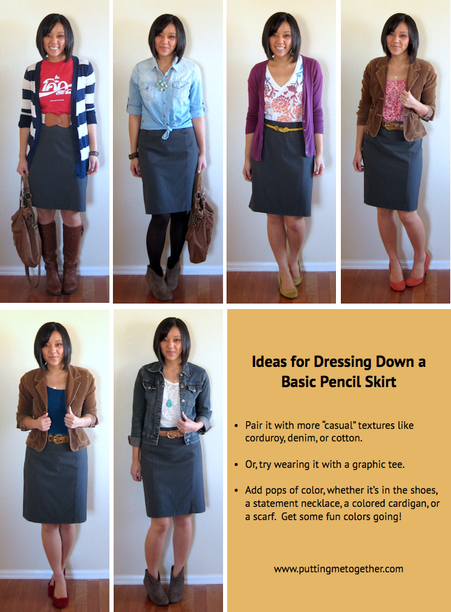 cae42c6097 Above are the major things I noticed worked when trying to create casual  outfits with a pencil skirt. I also noticed that each look used at least  one, ...