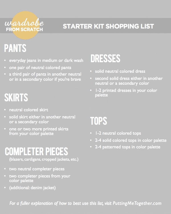 wardrobe from scratch part 4 the starter kit shopping list