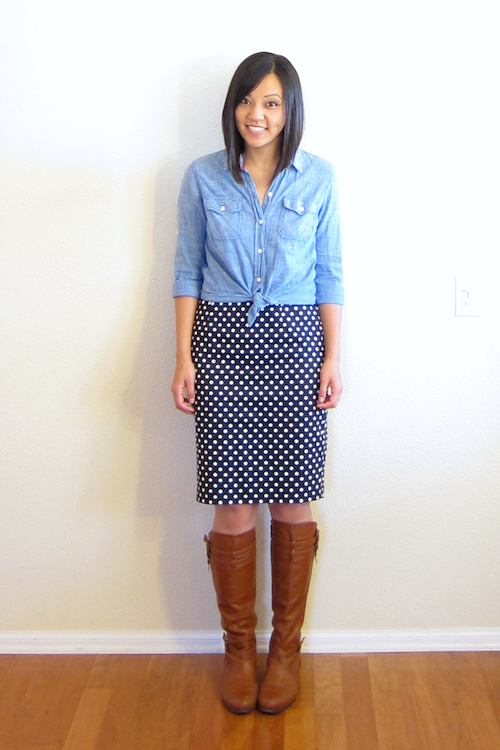 How to Wear a Polka Dot Pencil Skirt in Any Season ...