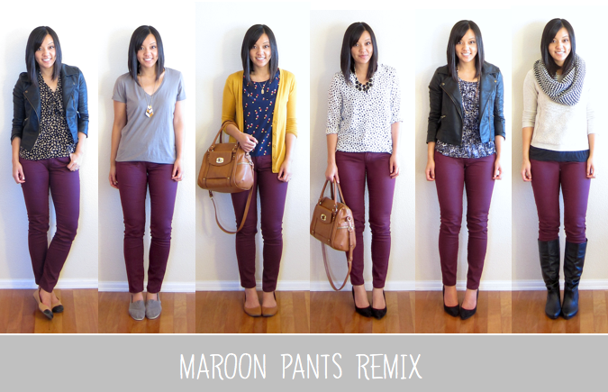 Maroon jeans outfit