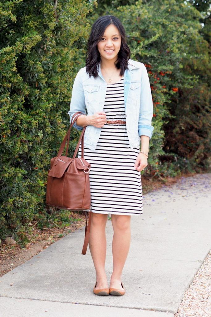 Striped Dress + Denim Jacket + Brown Leather Bag + Belt