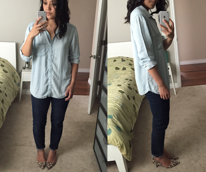 2f09ca85 UPDATE: Washed Chambray Shirt (size L) – In my last review (HERE) I  mentioned concern about wrinkling given that it's rayon, not chambray.