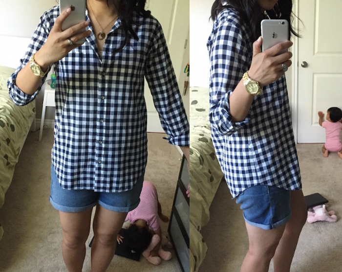 8a228a40 I can't tell you how long I've been looking for a navy gingham top, and I  have been eyeing ones at J.Crew Factory ...