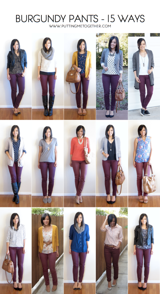 maroon pants outfits