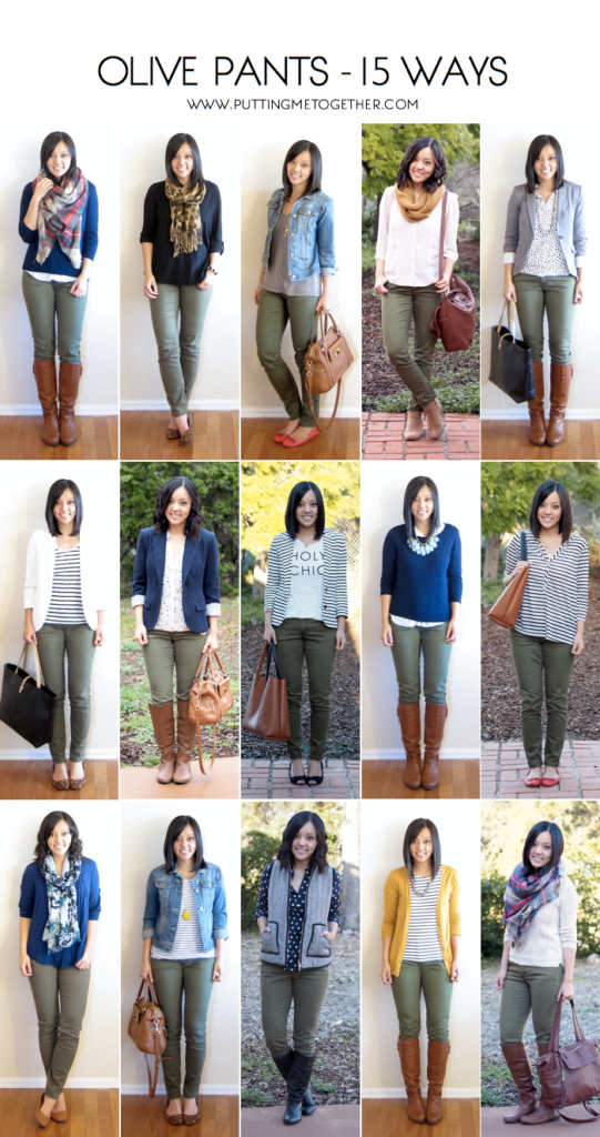 outfits with olive jeans