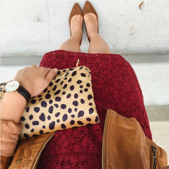 maroon lace dress leopard clutch