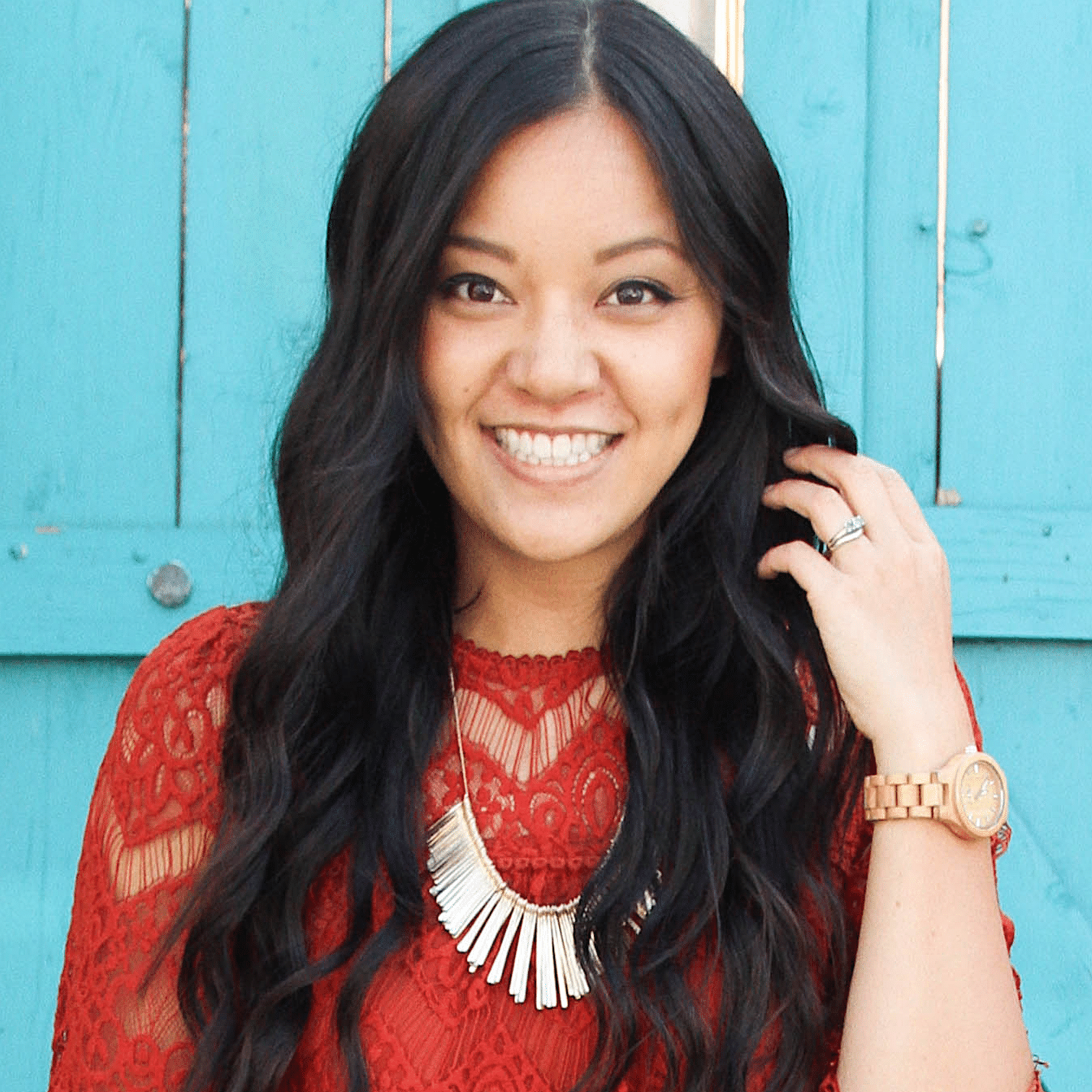 Rust Orange Lace Top + Statement Necklace