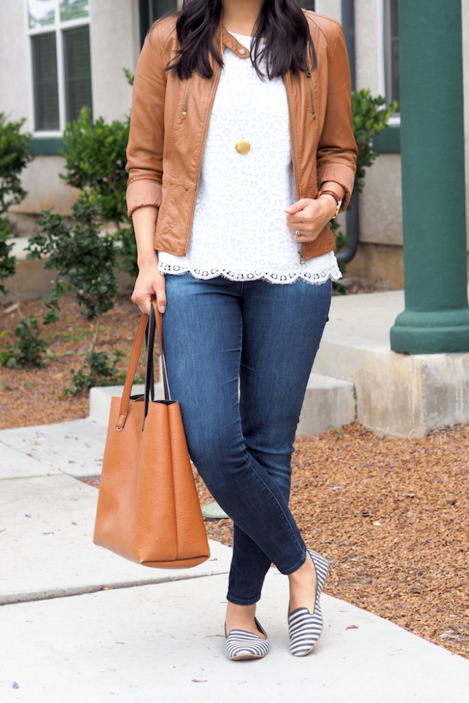 white lace tee outfit