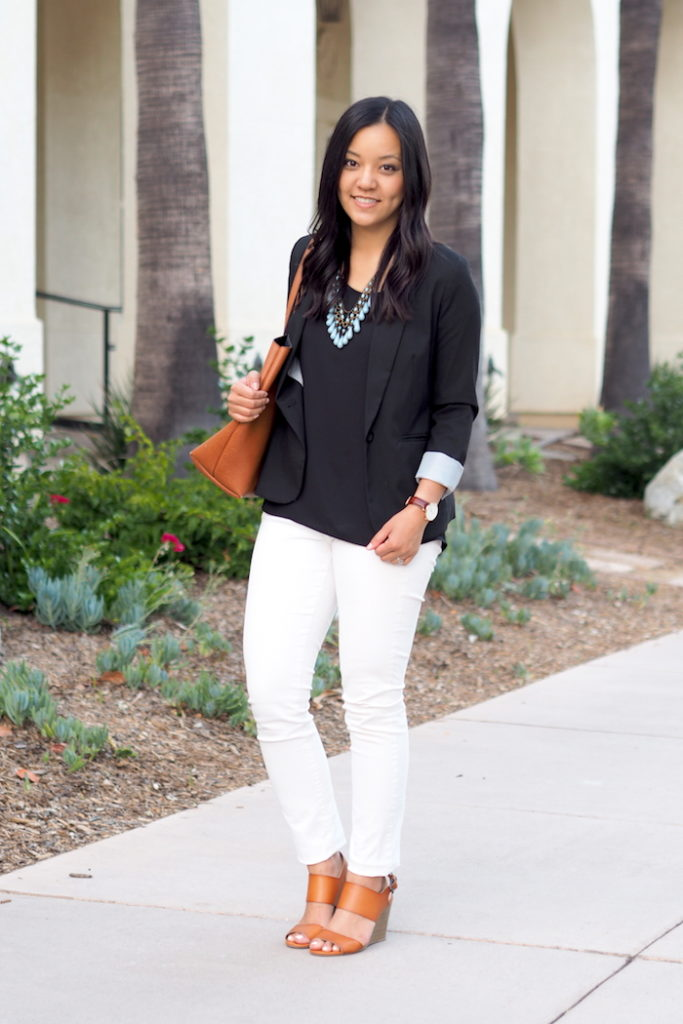white jeans business casual outfit