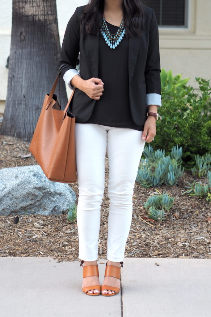 black blazer + white jeans + tan accessories