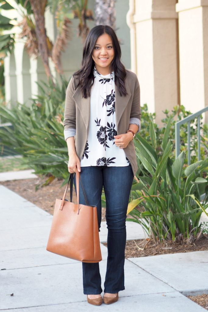 business casual outfit bootcut jeans
