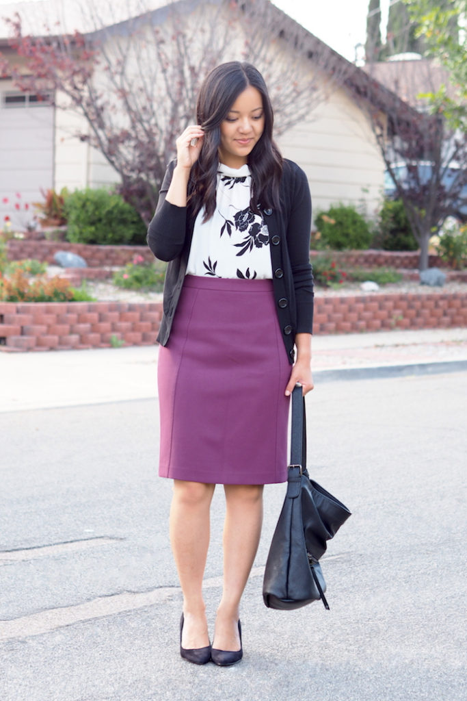 business casual outfit purple pencil skirt
