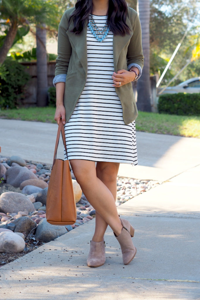 striped dress with booties