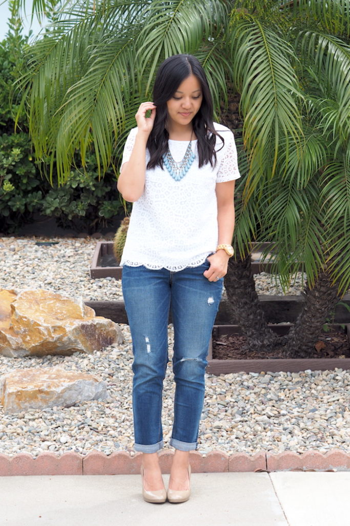 fancy casual boyfriend jeans outfit