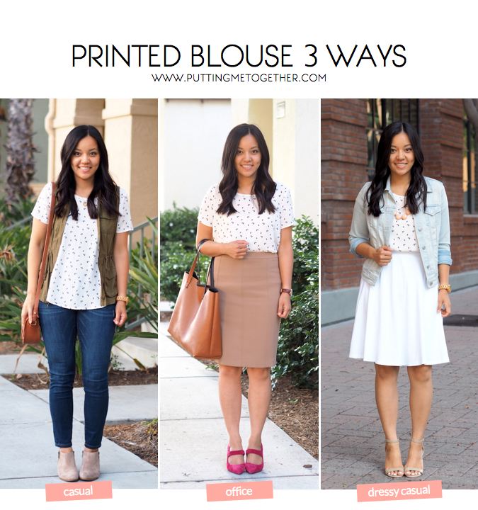 3 ways to wear a printed blouse