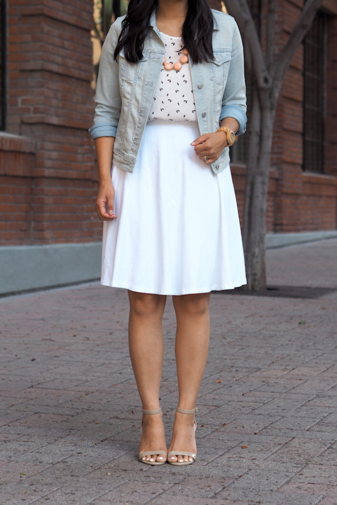white skirt outfit