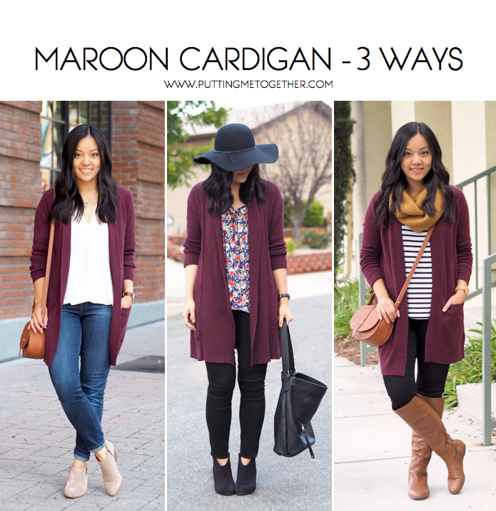 a99d50b232b 3 Ways to Wear a Maroon Cardigan - Putting Me Together