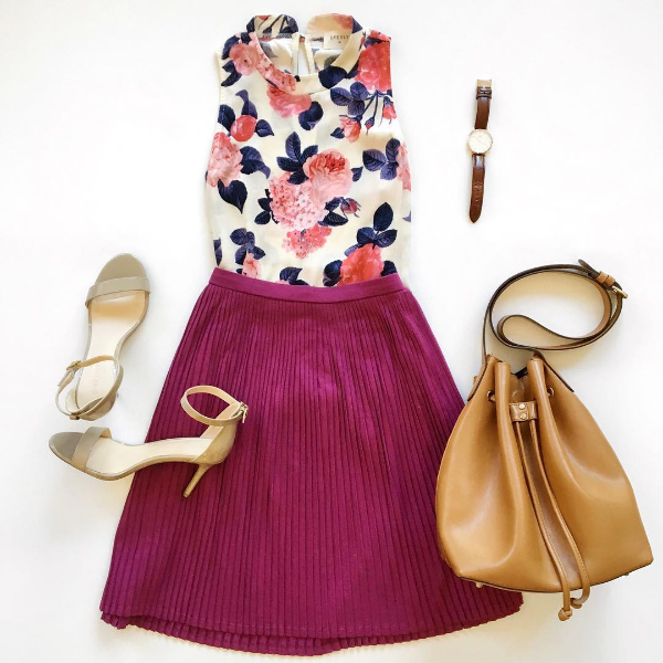 floral top + purple skirt