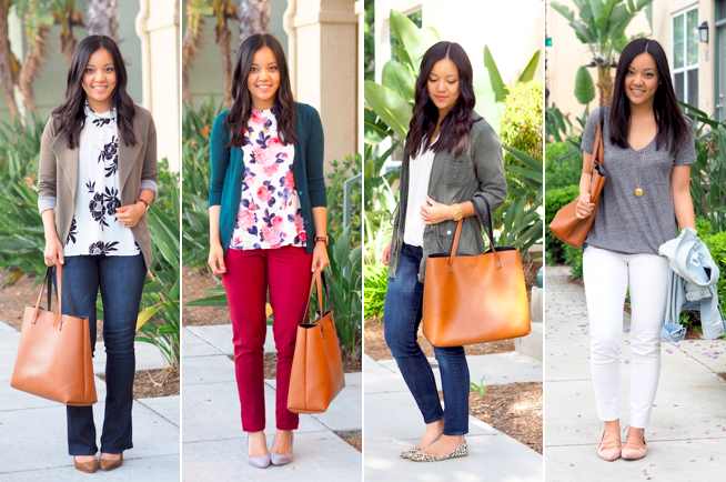 Tan Faux Leather Tote Outfits