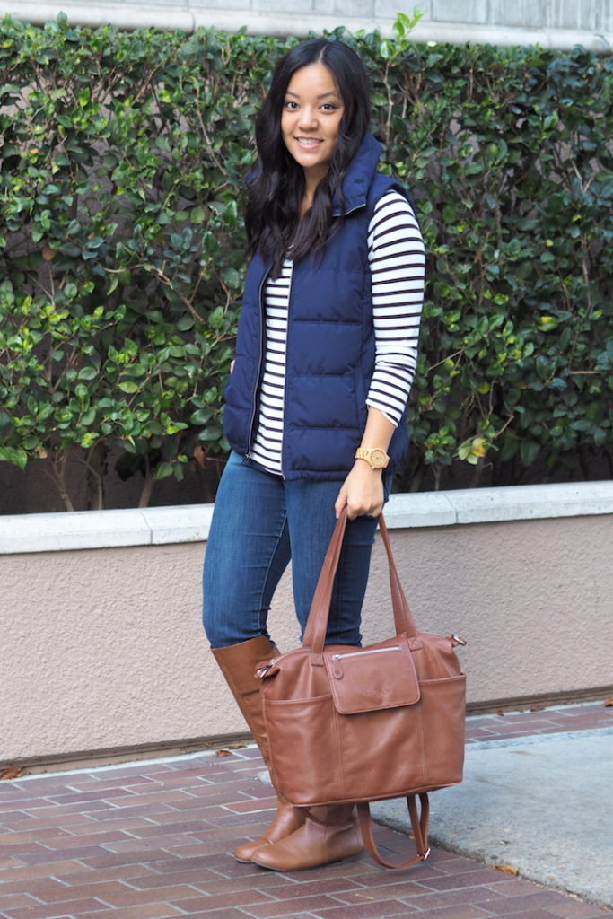 Fall Outfit: Striped Tee + Puffer Vest + Riding Boots