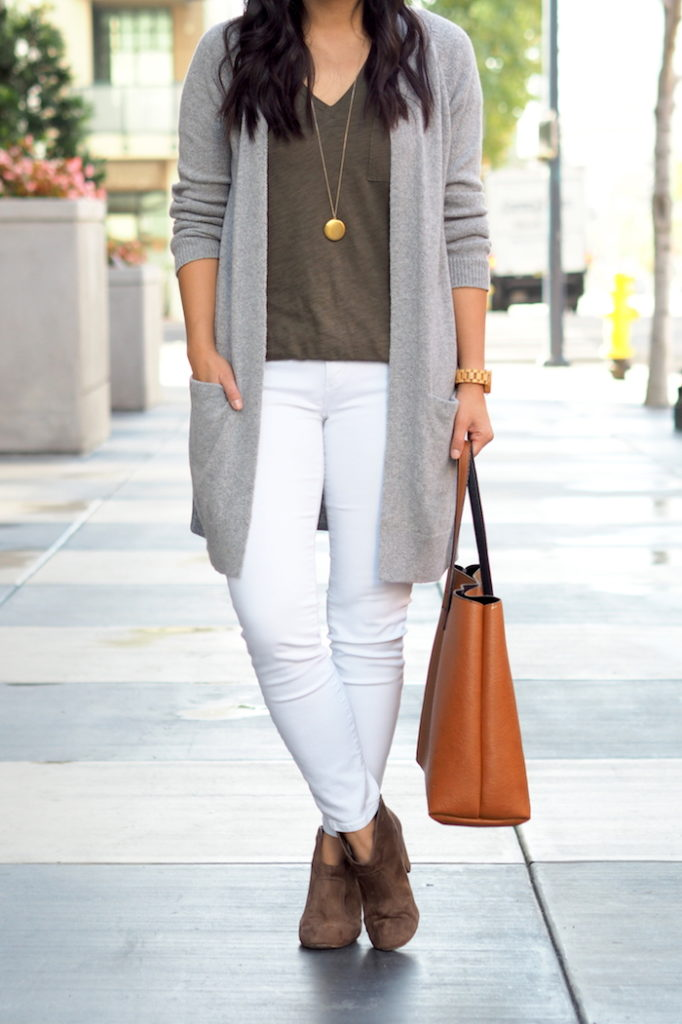Olive Tee Outfit - Grey + White