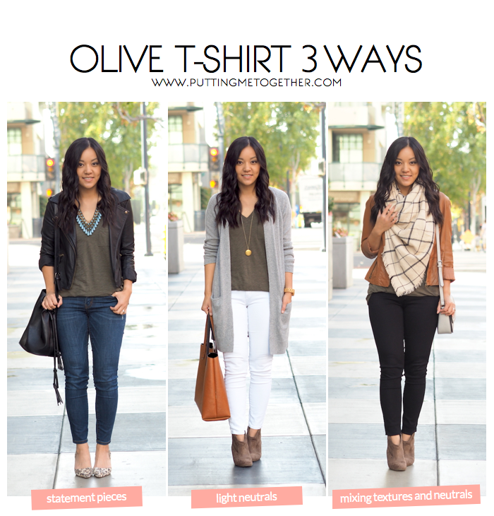 b6f082b7db2 3 Outfits With an Olive Tee - Putting Me Together