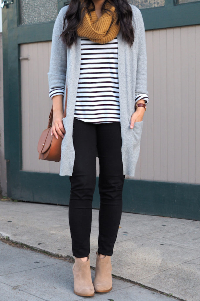 grey cardigan + black jeans + stripes + pop of mustard + tan booties