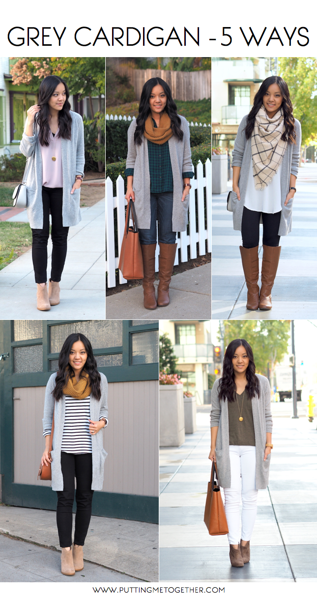 5 Outfits With a Grey Cardigan - Putting Me Together