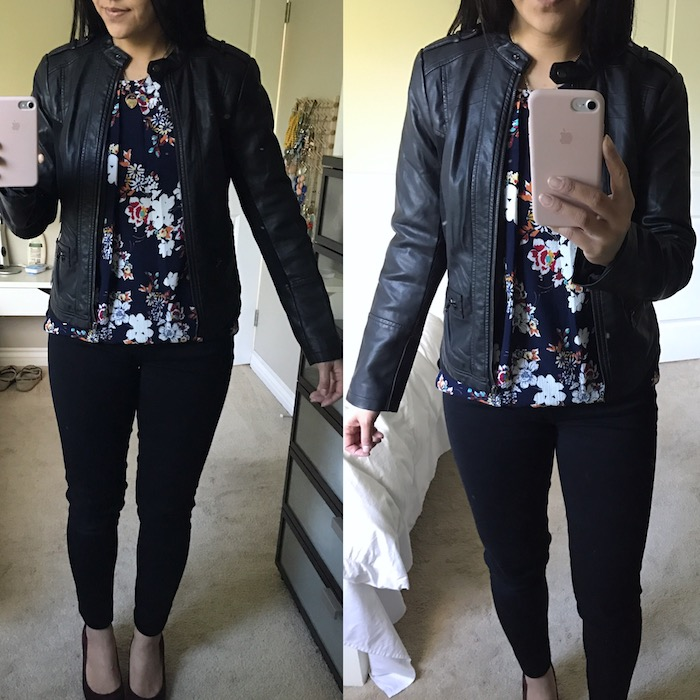 f67b08f218 JCPenney Faux Leather + Knit Jacket – size S
