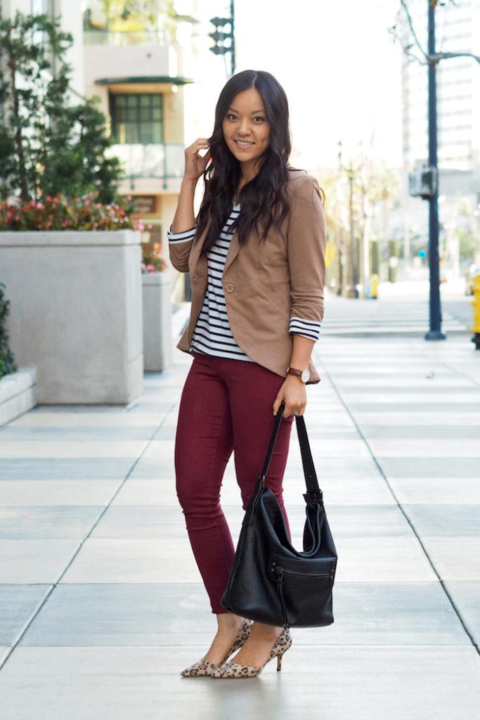 maroon jeans + tan blazer + striped tee + leopard print pumps