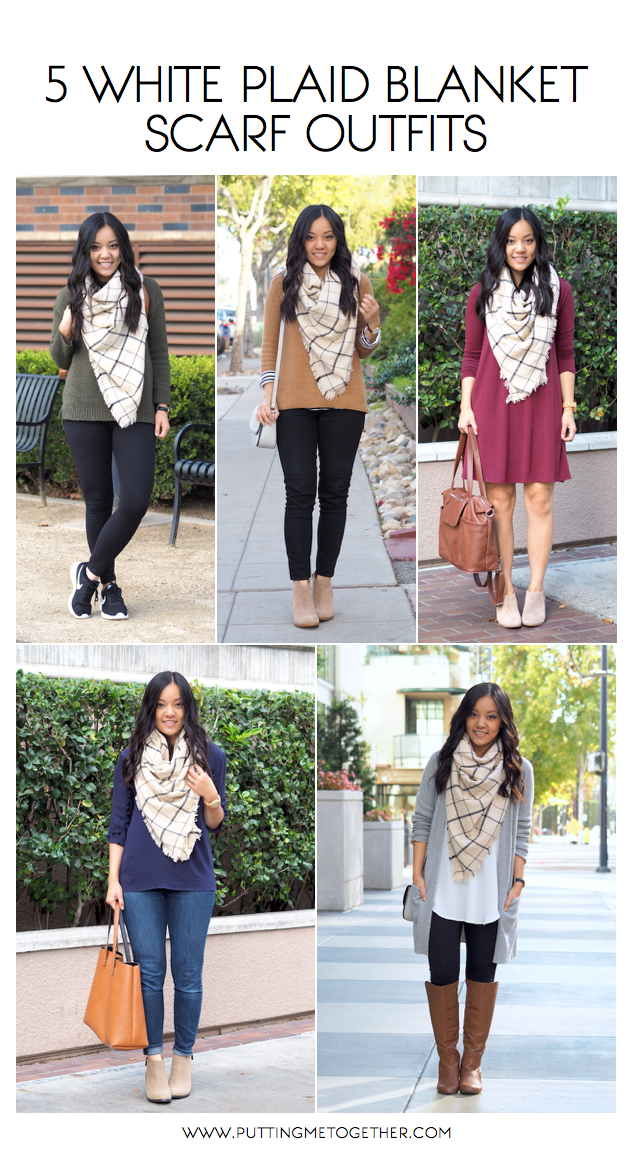 5 with a white plaid blanket scarf tips for