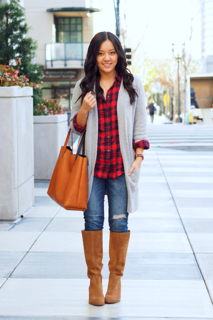 red plaid shirt + grey cardigan + tan suede boots