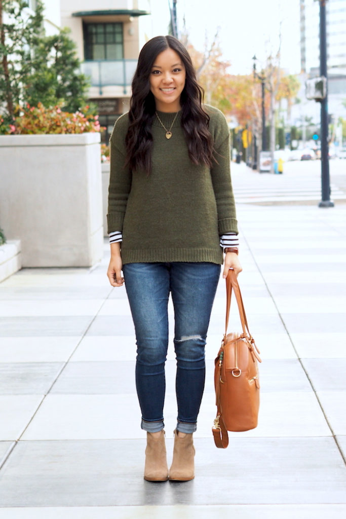 How to Wear an Olive Sweater 3 Ways + 5 Inexpensive Olive Sweater Options - Putting Me Together