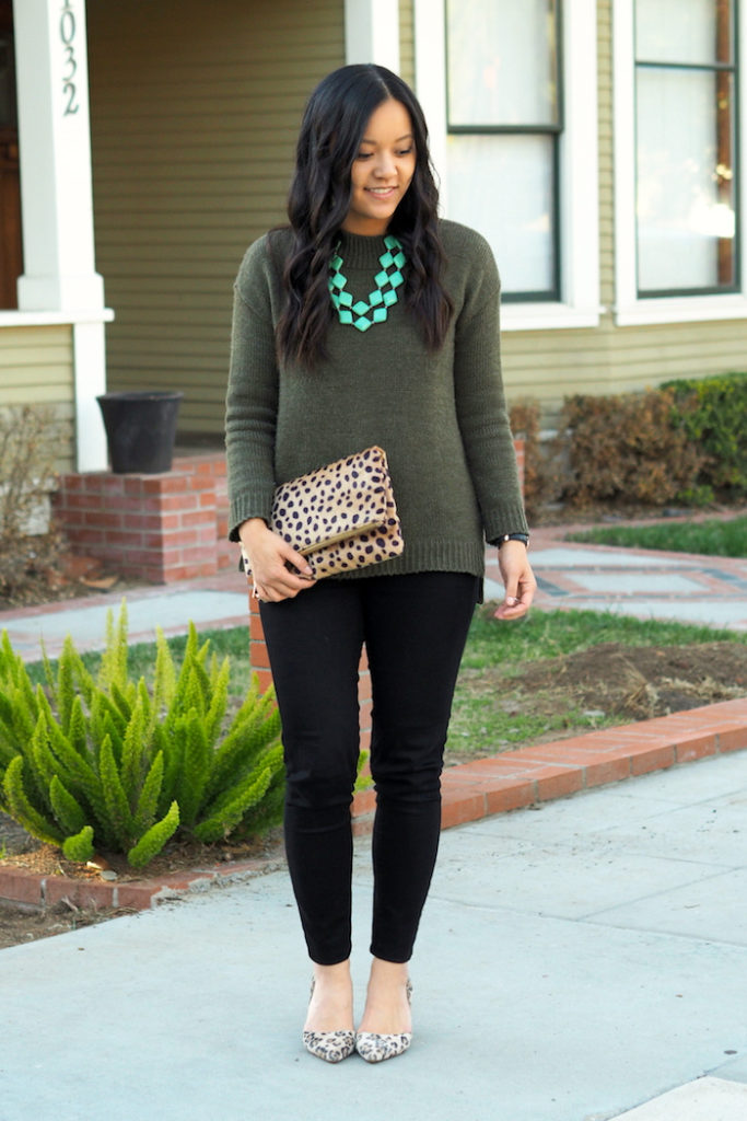 olive sweater + mint necklace + leopard clutch + leopard print pumps