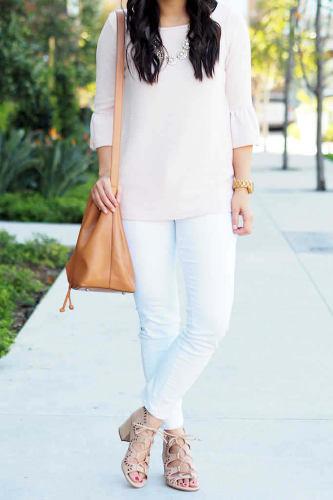 blush bell sleeve top + white jeans + cutout shoes