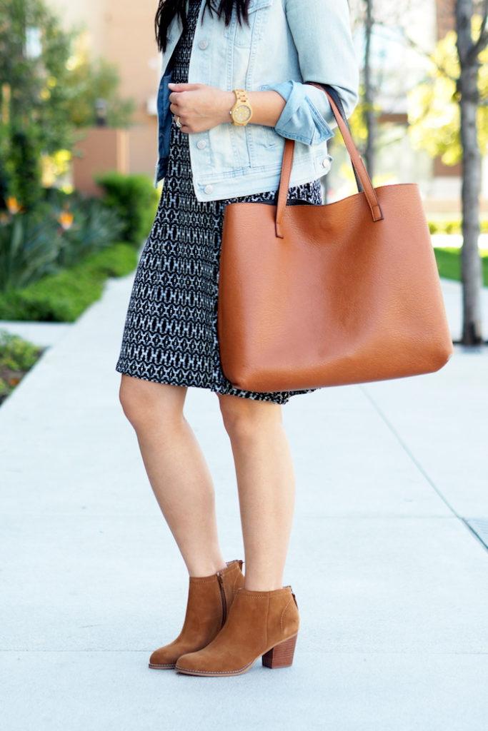 printed dress + ankle boots + denim jacket