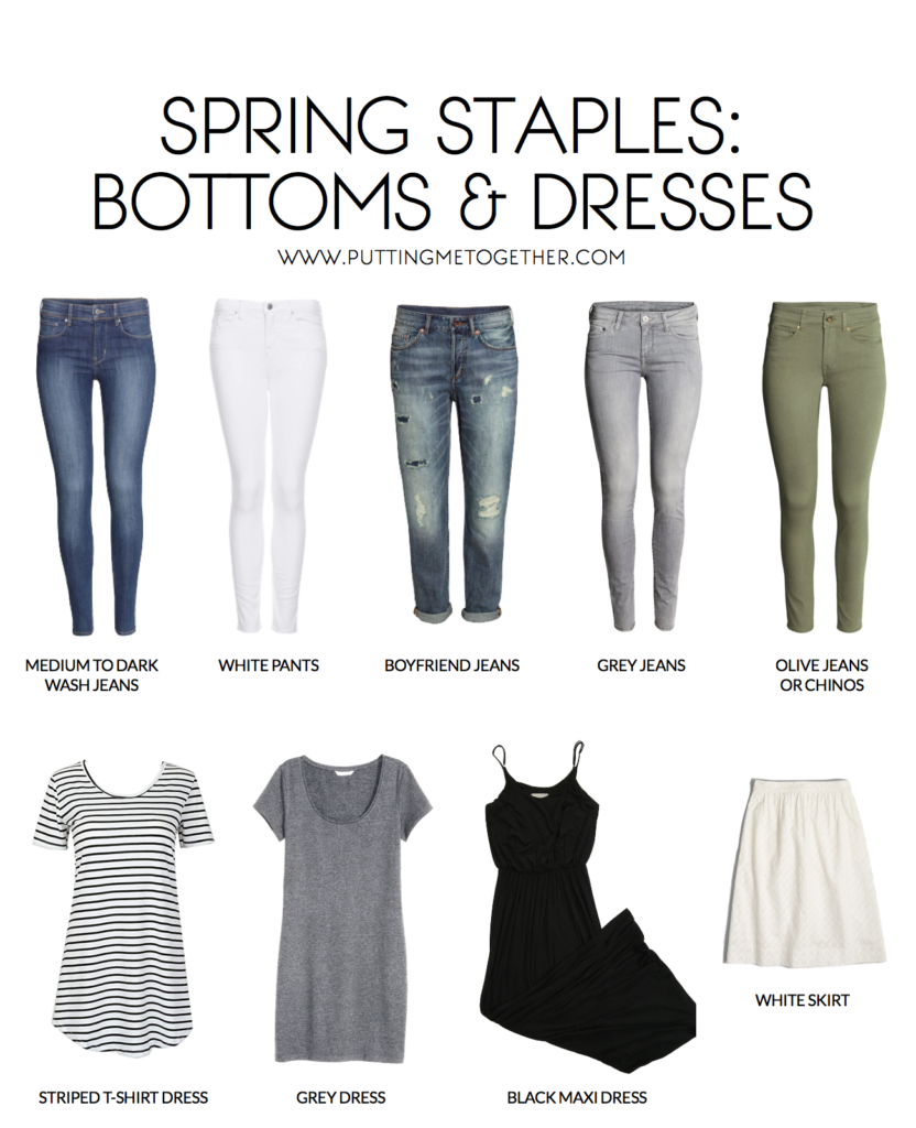 Spring Wardrobe: Staples for Bottoms and Dresses + Outfit Ideas
