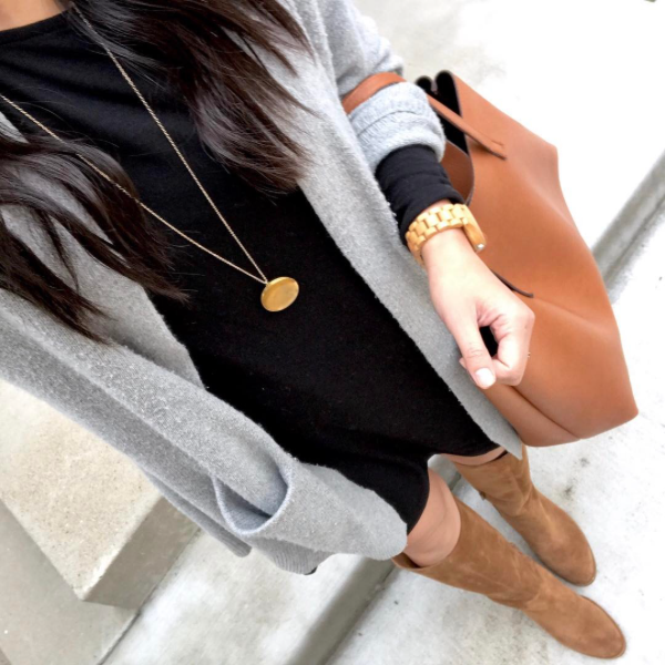 black dress + grey cardigan