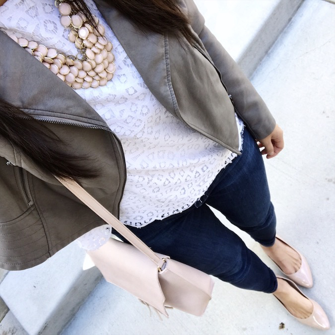 lace top + grey leather jacket + blush accessories + nude flats