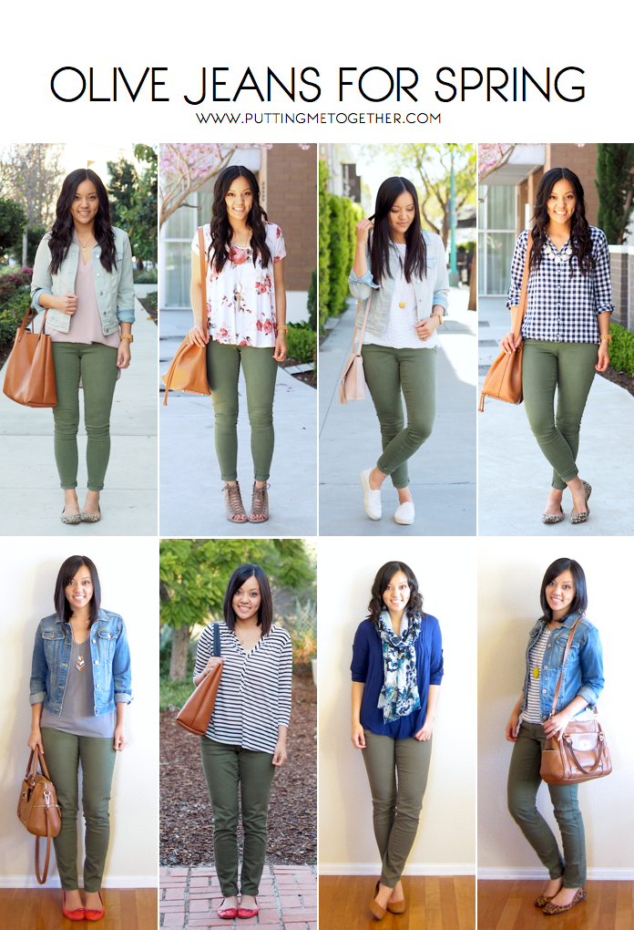 4f54a25df9 Outfits With Olive Jeans in the Spring - Putting Me Together