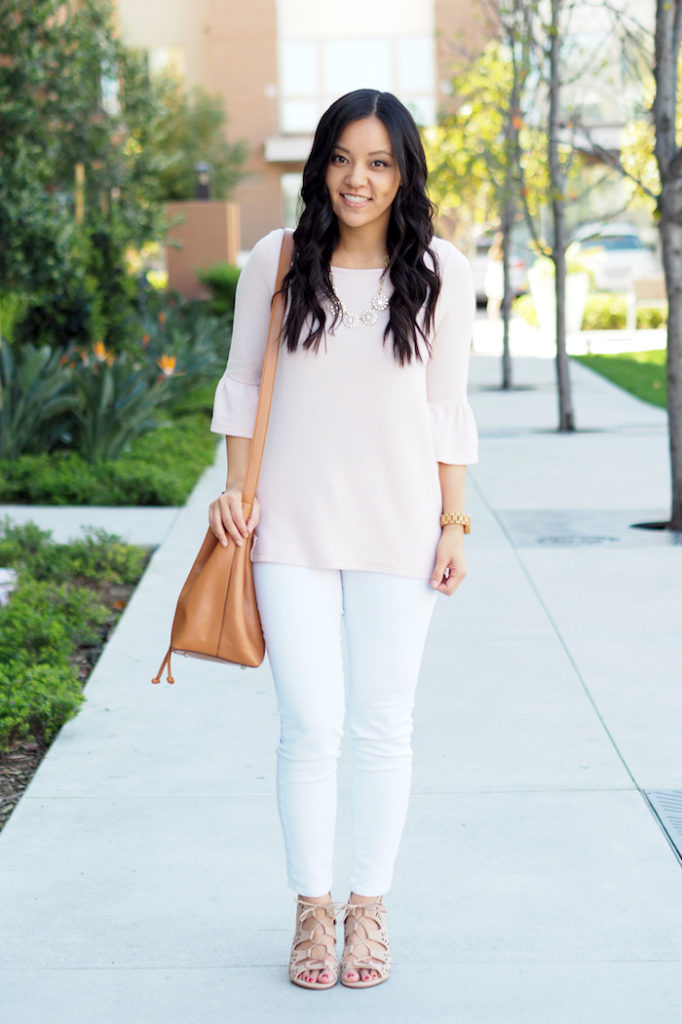 blush top + white jeans + nude sandals