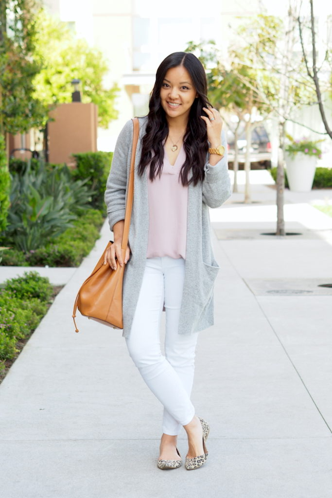 white jeans + blush top + grey cardigan + leopard flats