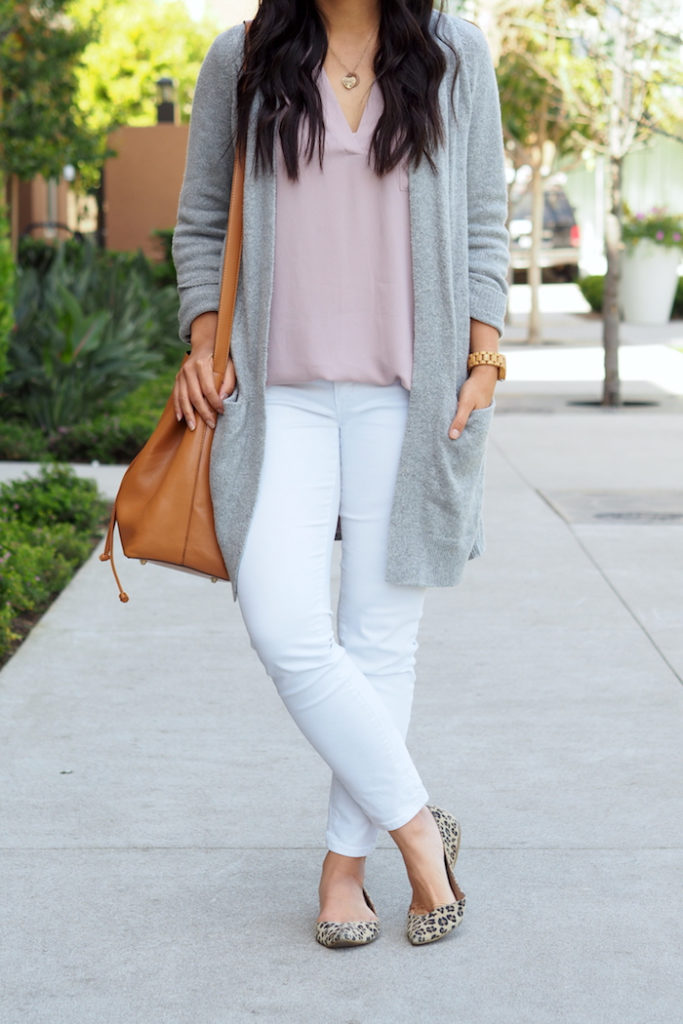 white jeans + leopard flats + blush top