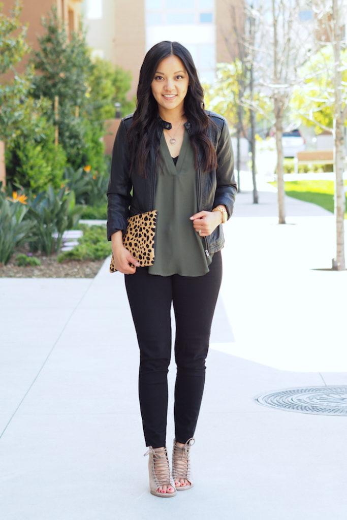 olive top + black faux leather moto jacket + black jeans + leopard print + statement shoes