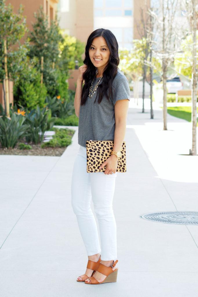 Leopard Clutch + White Jeans + Grey Tee + Statement Necklace + Cognac Heels