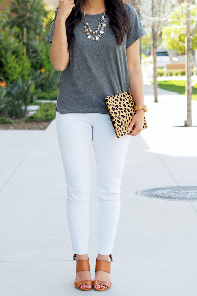 White Jeans + Grey Tee + Leopard Clutch + Necklace + Heeled Sandals