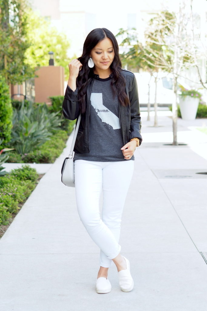 white jeans + The Home T + black leather jacket + white sneakers
