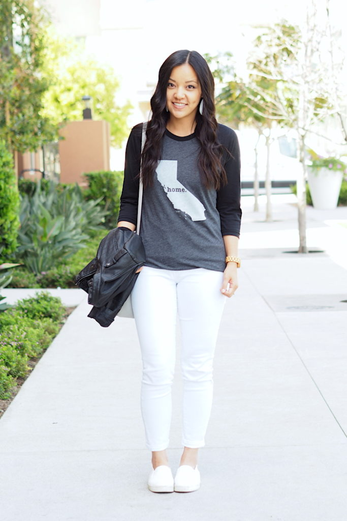 white jeans + grey graphic tee + white sneakers