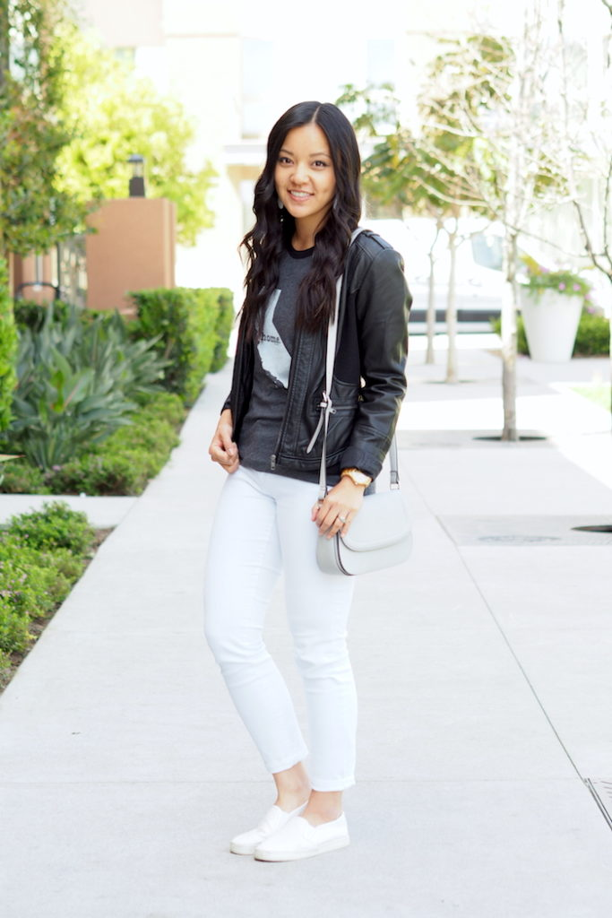 white jeans + Home T + black leather jacket + white sneakers