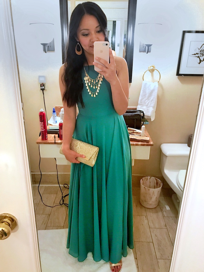 green dress + gold accessories